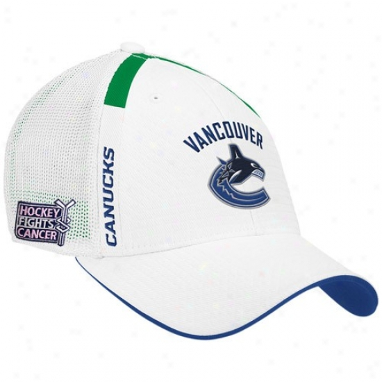 Vancouver Canuck Merchandise: Reebok Vancouver Canuck White  Hockey Fights Cancer Draft Day Flex Fit Hat