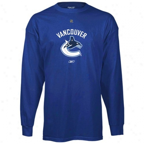 Vancouver Canuck Tshirt : Reebok Vancouver Canuck Royal Blue Primary Logo Long Sleeve Tshidt
