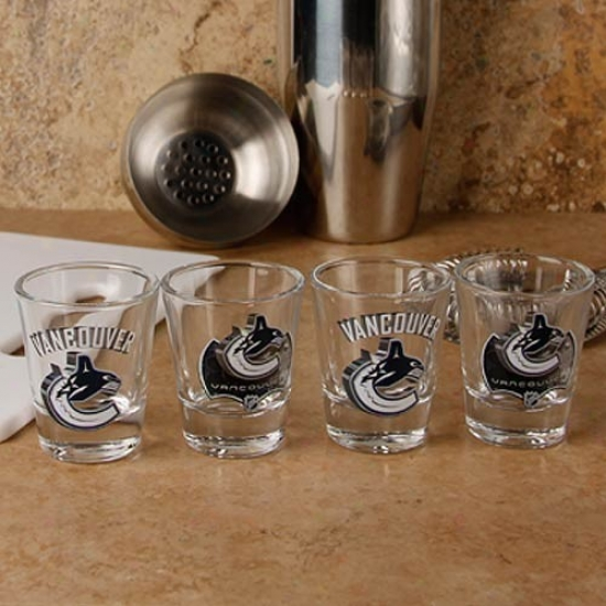 Vancouver Canucks 4-pack Enhanced Profoundly Definnition Draw Shot Glass Set