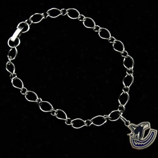 Vancouver Canucks Ladies Silvertone Charm Bracelet