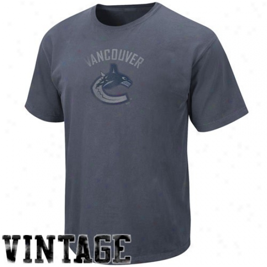 Vancouver Canucks Tees : Majestic Vancouver Canucks Heath Blue Big Time Play Vintage Tees