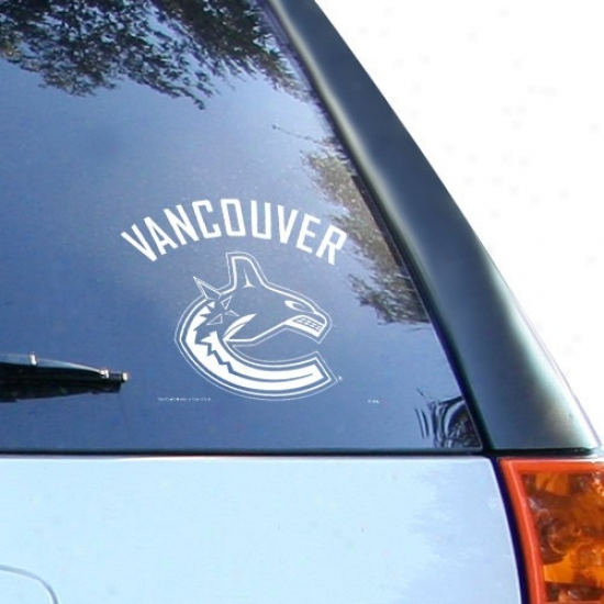 Vancouver Canucks Whkte 8'' X 8'' Logo Decal