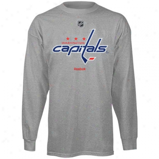 Washington Capital Apparel: Reebok Washington Capitsl Youth Ash Team Logo Long Sleeve T-shirt