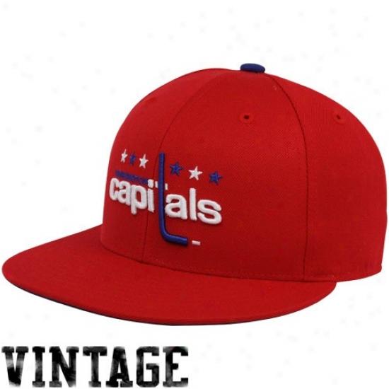 Washington Caiptal Hat : Mitchell & Ness Washington Capital Red Vintage Logo Fitted Hat