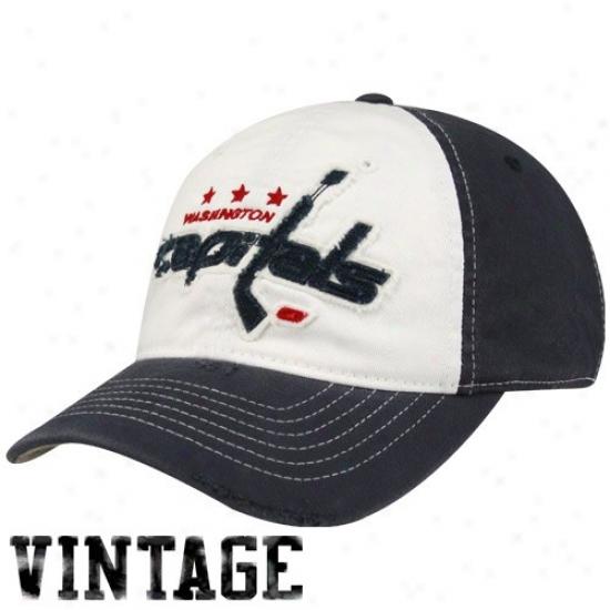 Washington Capital Hat : Reebok Washington Capital White-navy Blue Distressed Logo Flex Be suited Hats