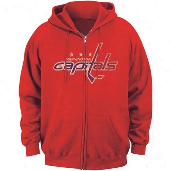 Washington Capital Hoodies : Majestic Washington Capital Red Offiicial Logo Full Zip Hoodies