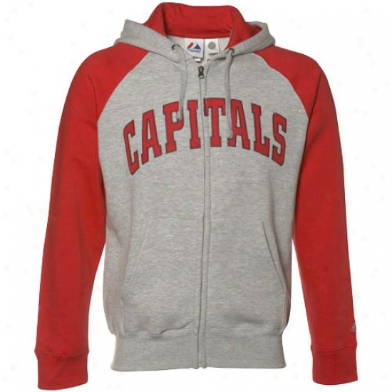 Washington Capital Hoody : Majestic Washington Capital Ash-red Slap Shot Full Zip Hoody