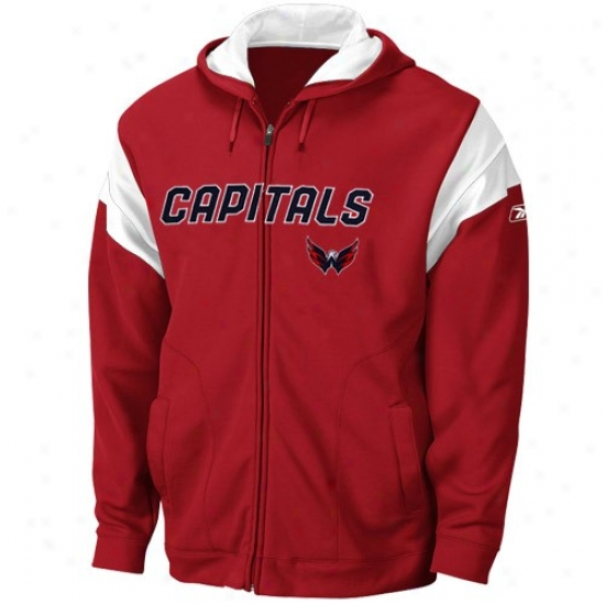 Washingtln Capital Hoodys : Reebok Washington Capital Red Top Shelf Full Zip Hoodys