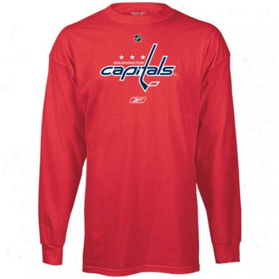 Washington Capital Shirts : Reebok Washington Capital Red Prime Logo Long Sleeve Shirts