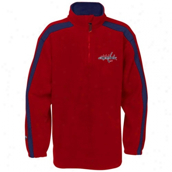 Washington Capital Stuff: Majestic Washington Capital Red Plan Stopper 1/4 Zip Fleece Sweatshirt