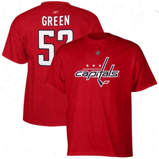 Washington Capital T Shirt : Reebok Washington Capital #52 Mike Gteen Red Player T Shirt