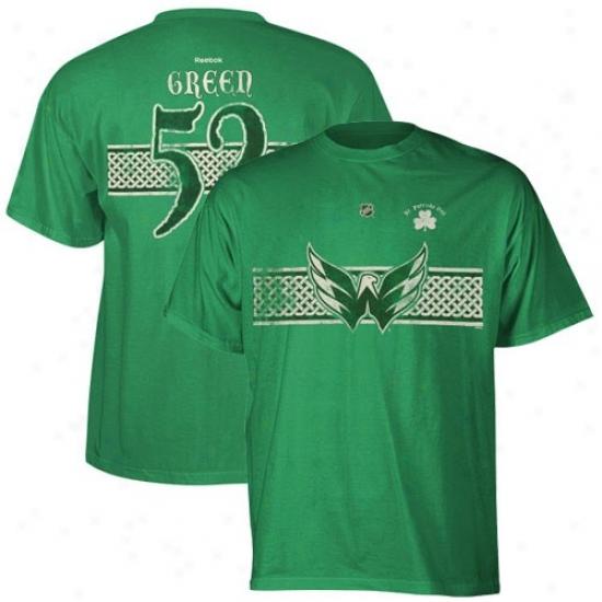Washington Capital Tees : Reebok Washington Ca0ital #52 Mike Green Kelly Green St. Patrick's Lifetime Celtic Player Tees