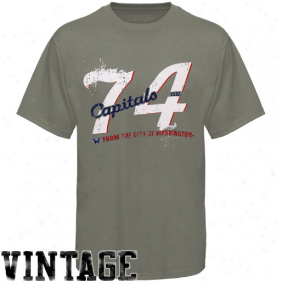 Washington Capital Tshirt : Old Time Hockey Washington Capital Gray Bench Premium Tshirt