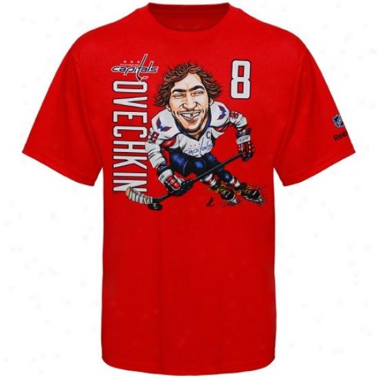 Washington Fatal Tshirt : Reebok Washington Capital #8 Alex Ovechkin Preschool Red Caricature Tshirt