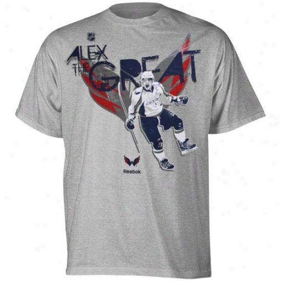 Washington Excellent Tshirts : Reebok Washington Capital #8 Alex Ovechkin Ash Stamp Moves Tshirts