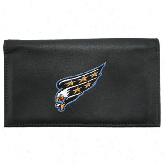 Washington Capitals Black Embroidered Leather Checkbook Cover