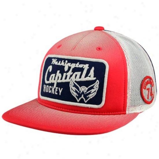 Washington Capitals Gear: Reeobk Washington Capitals Red-natural-gold Adjustable Trucker Hat