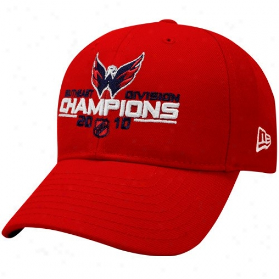 Washjngton Capitals Hat : Nrw Era Washington Capitals Red 2010 Southeast Division Champions Adjustable Hat