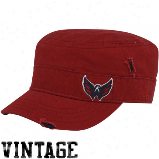 Washington Capitals Merchandise: New Era Washington Capitals Ladies Red Disrtessed Milutary Style Adjustable Hat