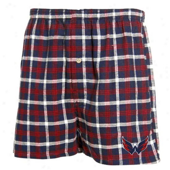 Washington Capitals Navy Blue Pladi Tailgate Flannel Boxer Shorts