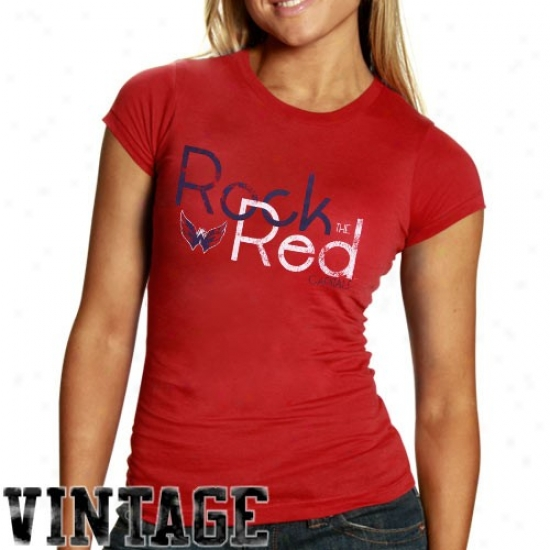 Washington Capitals Shirts : Old Time Hockey Washington Capitals Ladies Red Resilience Rock The Red Vintage Shirts