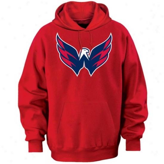 Washington Capitalz Sweat Shirts : Majestic Washington Caitals Red Felt Tek Patch Sweat Shirts