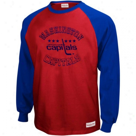 Washington Capitals T-shirt : Mitchell & Nrss Washington Capitals Royal Blue-red Neutral Zone Long Sleeve Raglan T-shirt