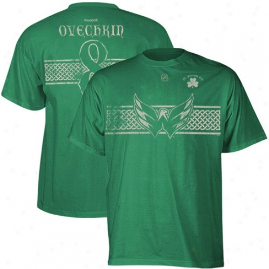 Washington Capitsls T Shirt : Reebok Washington Capitals #8 Alexander Ovechkin Kelly Green St. Patrick's Day Celtic Player T Shirt