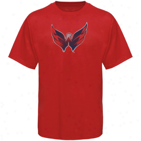 Wsahington Capitals Tees : Majestic Washington Capitals Red Slim Fit Logo Teed