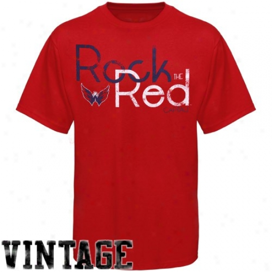 Washington Capitals Tees : Old Time Hocke Washington Capitals Red Rebound Rock The Red Vintage Tees