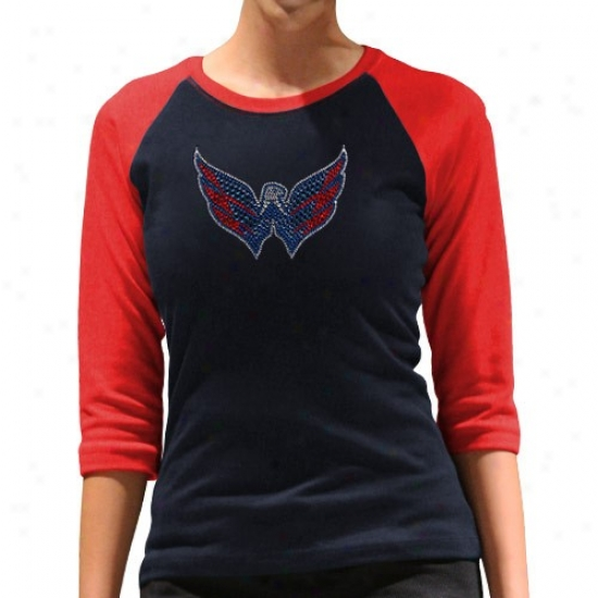 Washington Capitalls Tees : Washington Capitals Ladies Navy Blue-red Rhinestone 3/4 Sleeve Raglan Premium Tees