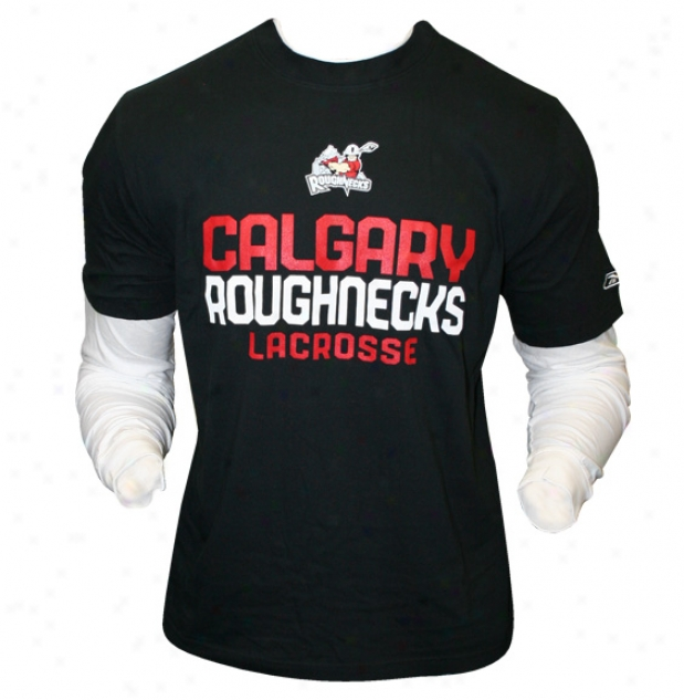 Reebok Calgary Roughneckq N.l.l Layered Long Sleeve Lacrosse Tee Shirt