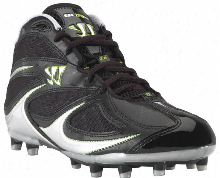 Warrior Burn Speed 3.0 Molded Mid Black Lacrosse Cleats